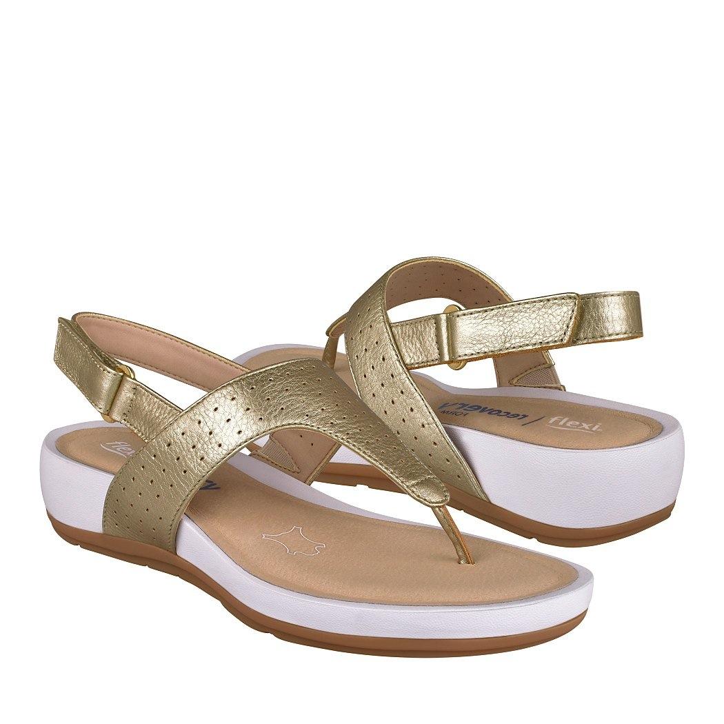 68b042fd ... sandalias casuales flexi para mujer piel oro 35201 -C190279-1 ...