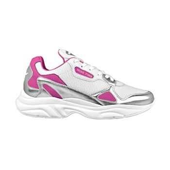 tenis casuales para dama miss pink 0080-21 bco plata 